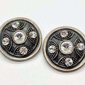 Vintage Art Decco Modernist Ornate Stone Earrings